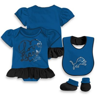 NFL Detroit Lions Size 0-3M 3-Piece Girl Creeper Bib and Bootie Set