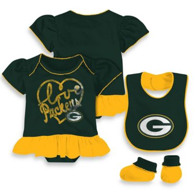 NFL Green Bay Packers Size 24M 3-Piece Girl Creeper Bib and Bootie Set