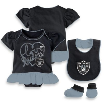 NFL Oakland Raiders Size 0-3M 3-Piece Girl Creeper Bib and Bootie Set