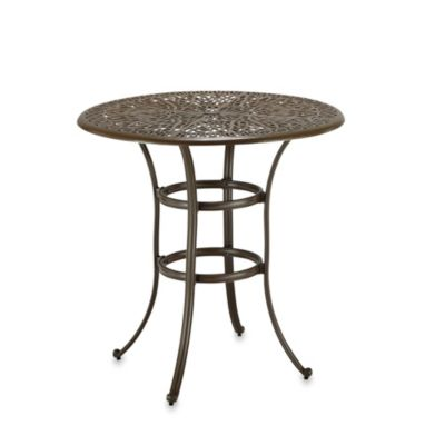 Home Styles Floral Blossom Bistro Table in Taupe