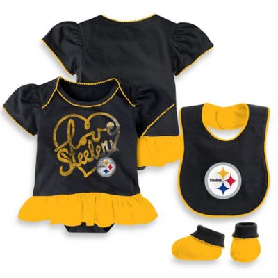 NFL Pittsburgh Steelers Size 12M 3-Piece Girl Creeper Bib and Bootie Set