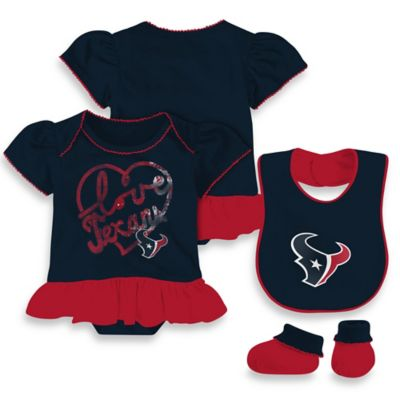 NFL Houston Texans Size 12M 3-Piece Girl Creeper Bib and Bootie Set