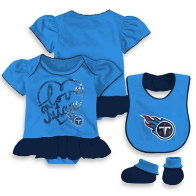 NFL Tennessee Titans Size 3-6M 3-Piece Girl Creeper Bib and Bootie Set
