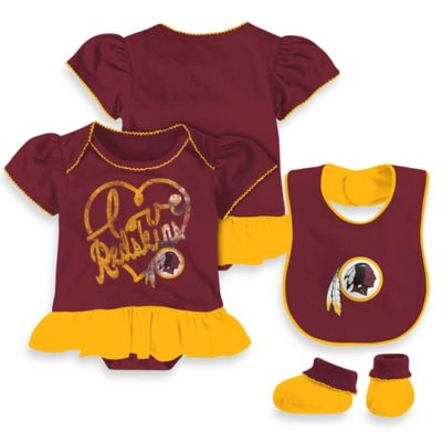 NFL Washington Redskins Size 12M 3-Piece Girl Creeper Bib and Bootie Set
