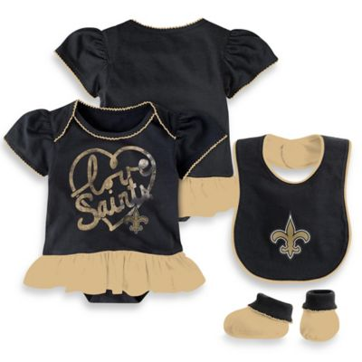 NFL New Orleans Saints Size 0-3M 3-Piece Girl Creeper Bib and Bootie Set