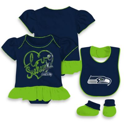 NFL Seattle Seahawks Size 24M 3-Piece Girl Creeper Bib and Bootie Set