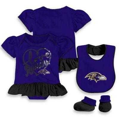 NFL Baltimore Ravens Size 24M 3-Piece Girl Creeper Bib and Bootie Set