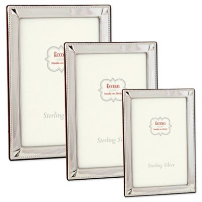 Eccolo™ Sterling Silver 4-Inch x 6-Inch Picture Frame with Diamond Corners