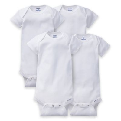 Gerber ONESIES® Brand Size 18M 4-Pack Short Sleeve Bodysuits in White