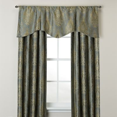 Venezia Scalloped Window Curtain Valance in Blue