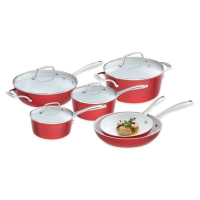 Ceramic Cookware Red and White