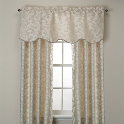 Venezia Scalloped Window Valance in Beige