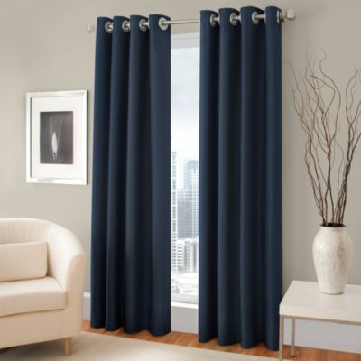 Majestic 63-Inch Blackout Lined Grommet Window Curtain Panel in Blue