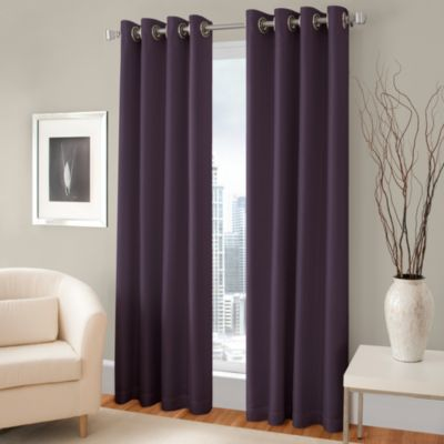 Majestic 84-Inch Blackout Lined Grommet Window Curtain Panel in Aubergine