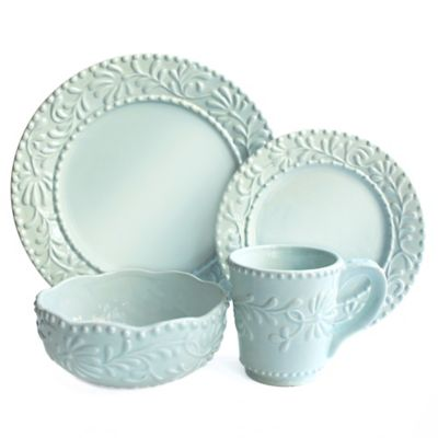American Atelier Bianca Leaf 16-Piece Dinnerware Set in Blue Mist