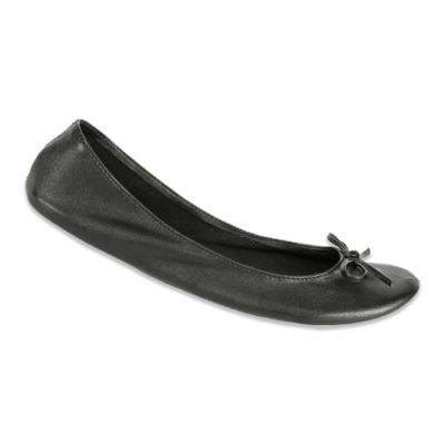 Footzyfolds™ Footrollupz Large Foldable Ballet Flat in Black As Night
