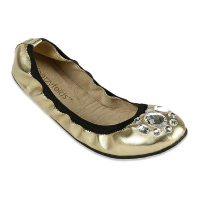 Footzyfolds™ Nika Size 6 Jeweled Foldable Ballet Flat in Gold