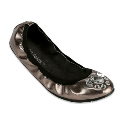 Footzyfolds™ Nika Size 10 Jeweled Foldable Ballet Flat in Pewter