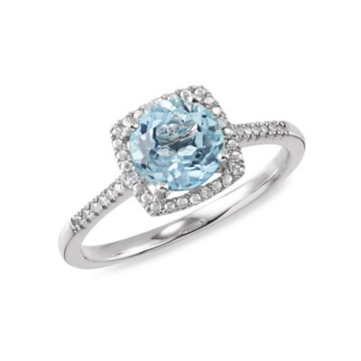 Sterling Silver .01 cttw Diamond and Sky Blue Topaz Size 7 Birthstone Ring