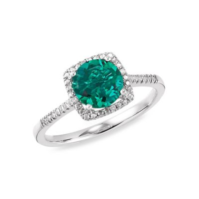 Sterling Silver .01 cttw Diamond and Emerald-Colored Size 5 Birthstone Ring
