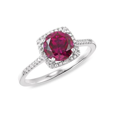 Sterling Silver .01 cttw Diamond and Ruby-Colored Size 7 Birthstone Ring