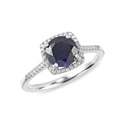 Sterling Silver .01 cttw Diamond and Sapphire-Colored Size 7 Birthstone Ring