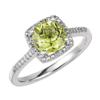 Sterling Silver .01 cttw Diamond and Peridot Size 7 Birthstone Ring