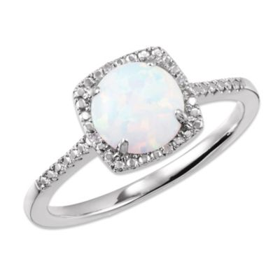 Sterling Silver .01 cttw Diamond and Opal-Colored Size 7 Birthstone Ring