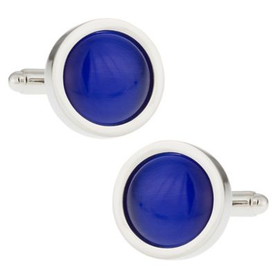 Silvertone Bold Blue Cufflinks