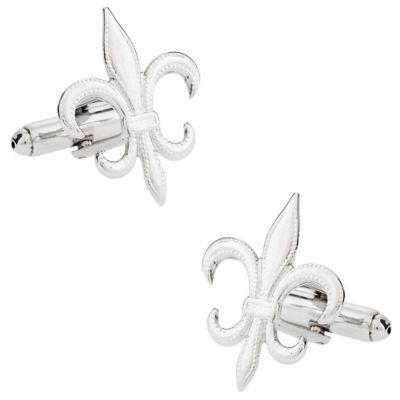 Silvertone Fleur De Lis Cufflinks