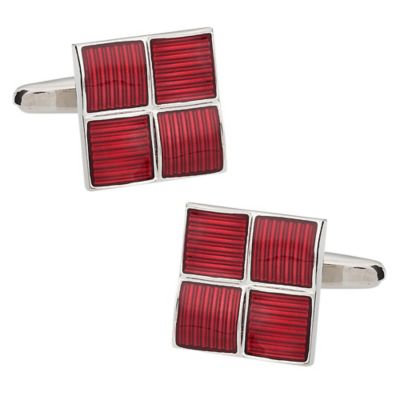 Four Square Cufflinks in Red