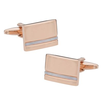Rose-Plated Mother of Pearl Cufflinks