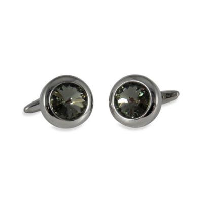 Silvertone Swarovski® Crystallized™ Round Cufflinks in Black