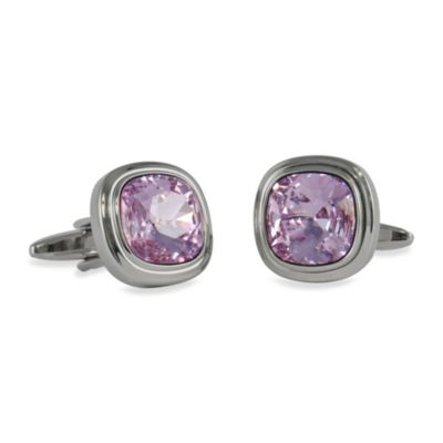 Silvertone Swarovski® Crystallized™ Cufflinks in Violet