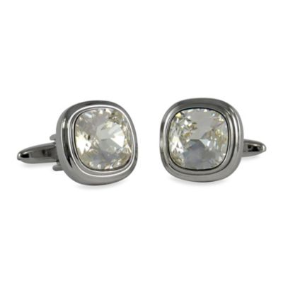 Silvertone Swarovski® Crystallized™ Cufflinks in Clear