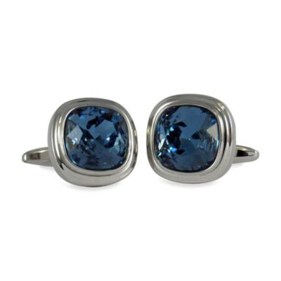 Silvertone Swarovski® Crystallized™ Cufflinks in Denim Blue