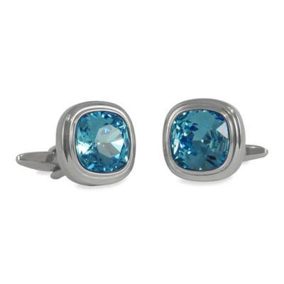 Silvertone Swarovski® Crystallized™ Cufflinks in Aquamarine