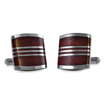 Striped Wood Cufflinks