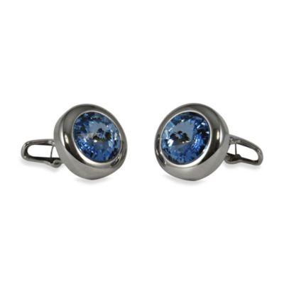 Silvertone Swarovski® Crystallized™ Round Cufflinks in Light Sapphire