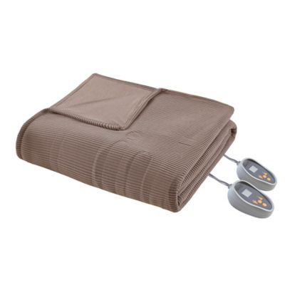 Beautyrest Heated Ribbed Micro Fleece King Blanket in Mink