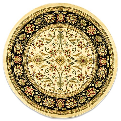 Safavieh Lyndhurst Traditional 5-Foot 3-Inch Round Rug in Ivory and Black