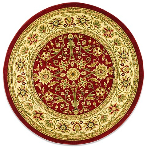 Safavieh Lyndhurst Collection 5-Foot 3-Inch Round Rug in Red and Ivory