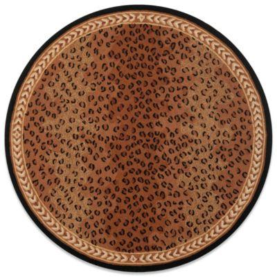 Black Brown Round Rug