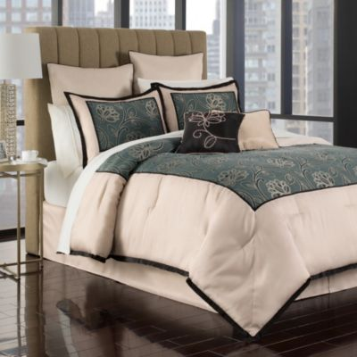 Jacobean 12-Piece King Comforter Set in Aqua