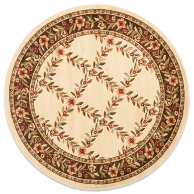 Safavieh Lyndhurst Collection Feodore 5-Foot 3-Inch Round Rug in Ivory and Brown