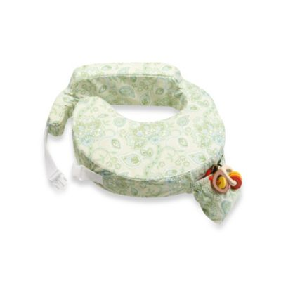 Travel Nursing Pillow in Green Paisley