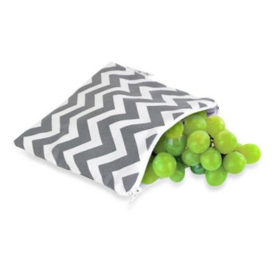 Itzy Ritzy® Snack Happens™ Medium Reusable Snack and Everything Bag in Grey Chevron