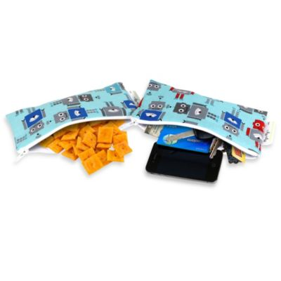Itzy Ritzy® Snack Happens™ Reusable Mini Snack and Everything Bag 2-Pack in All About Robots