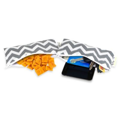 Itzy Ritzy Snack Happened™ Small Reusable Snack and Everything Bag 2-Pack in Grey