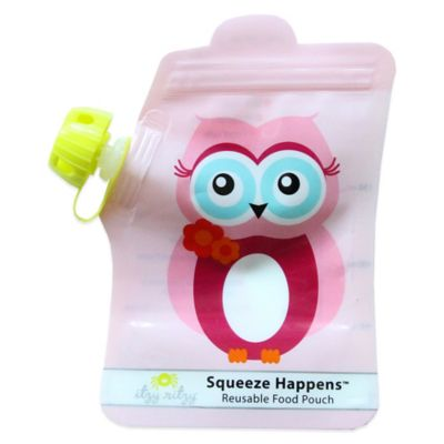 Itzy Ritzy® Squeeze Happens™ Reusable Food Pouch 2-Pack in Owl Pink